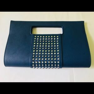 New, never used Navy studded clutch